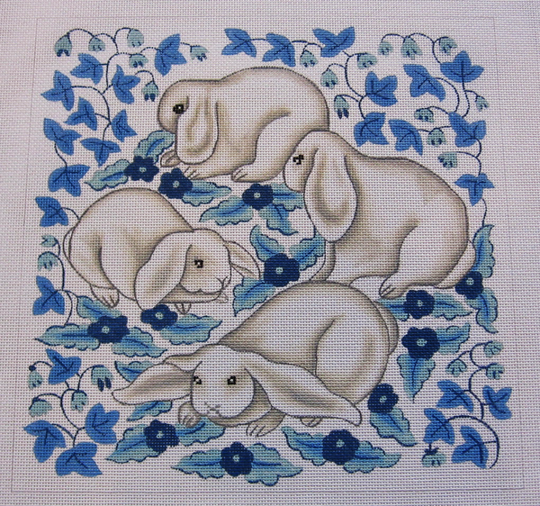 Needlepoint Blue and White Bunnies Canvas