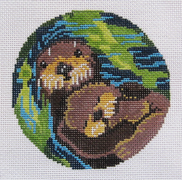 Needlepoint Otters Canvas