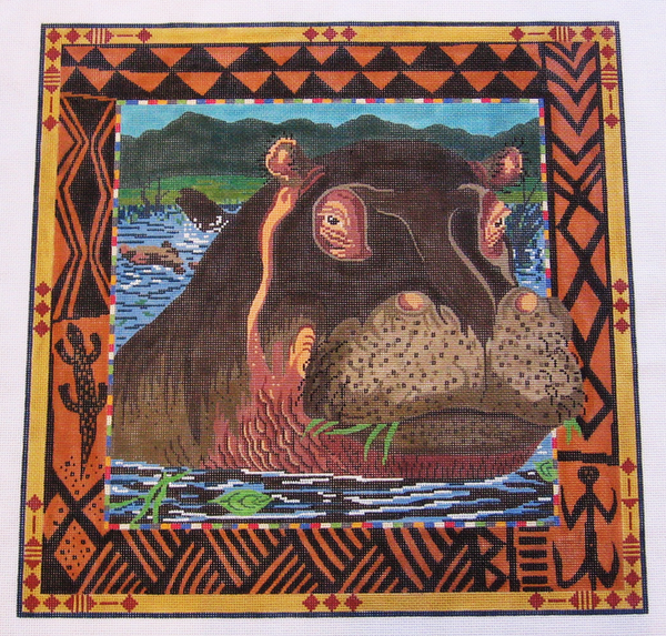 Needlepoint Hippo Canvas