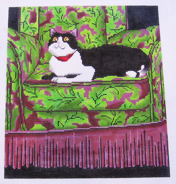 Needlepoint Black and White Cat Canvas