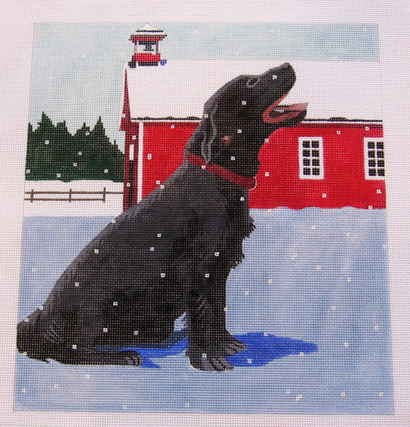 Needlepoint Black Dog Canvas