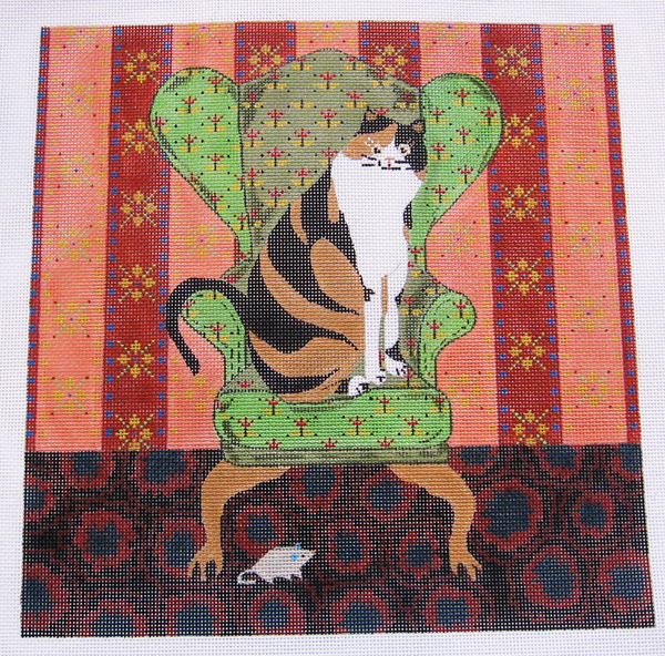Needlepoint Cat on Chair Canvas