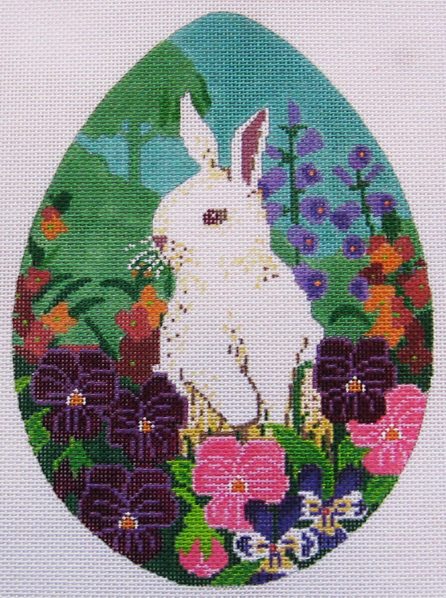 Needlepoint White Bunny Canvas