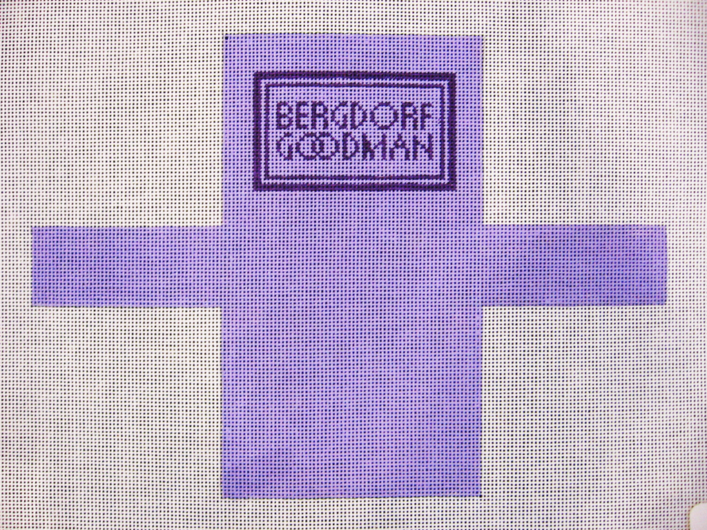 Needlepoint Bergdorf Goodman Shopping Bag Ornament Canvas