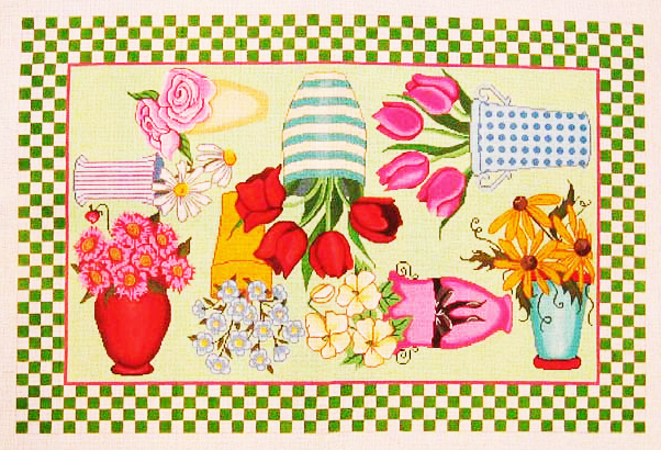 Needlepoint Flowers and Pots Canvas