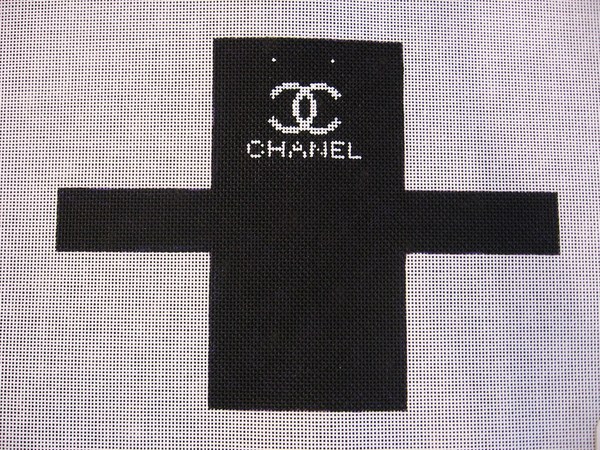Needlepoint Chanel Shopping Bag Ornament Canvas