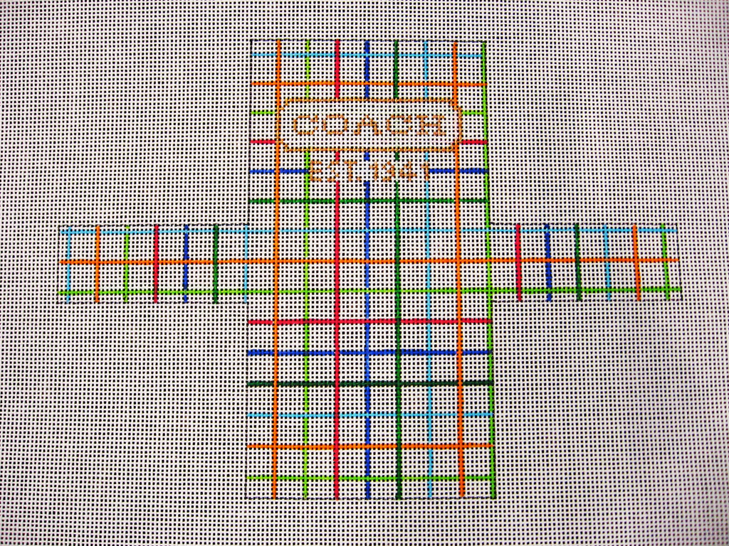 Needlepoint Coach Shopping Bag Ornament Canvas