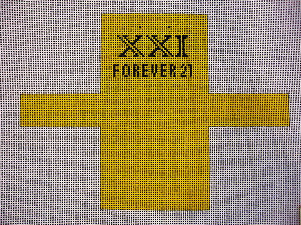 Needlepoint Forever 21 Shopping Bag Ornament Canvas