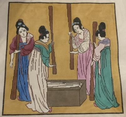 Asian ladies making silk