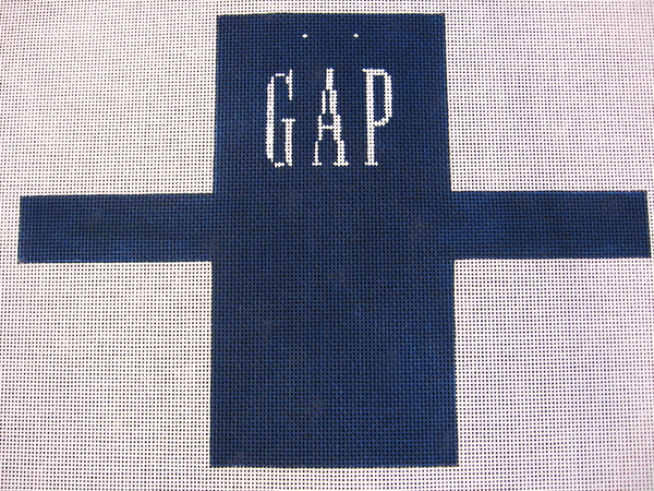 Needlepoint Gap Shopping Bag Ornament Canvas