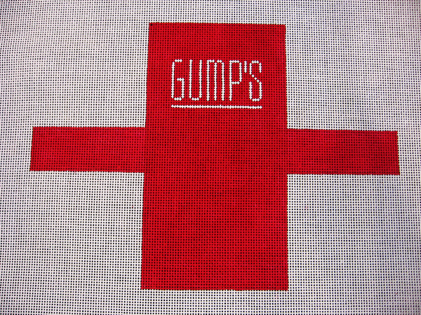 Needlepoint Gumps Shopping Bag Ornament Canvas