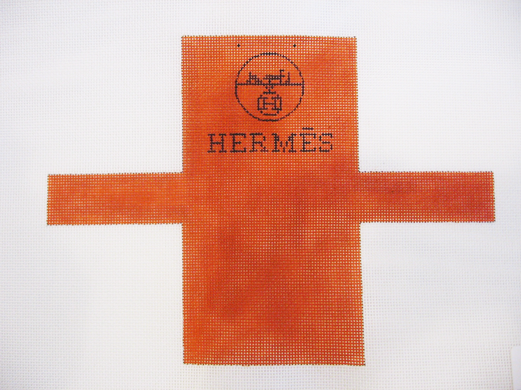 Needlepoint Hermes Shopping Bag Ornament Canvas