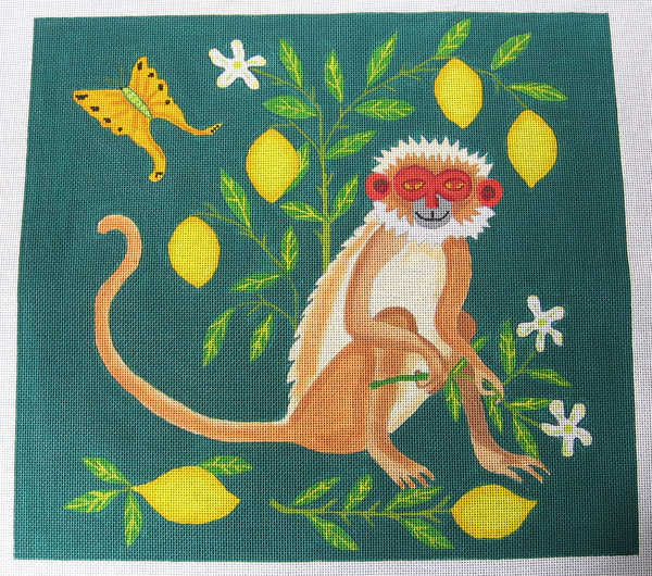 Needlepoint Monkey with Lemons Canvas
