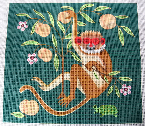 Needlepoint Monkey with Peaches Canvas