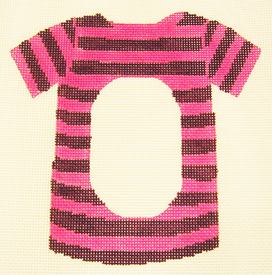 Needlepoint Purple Pink T-Shirt Frame Canvas