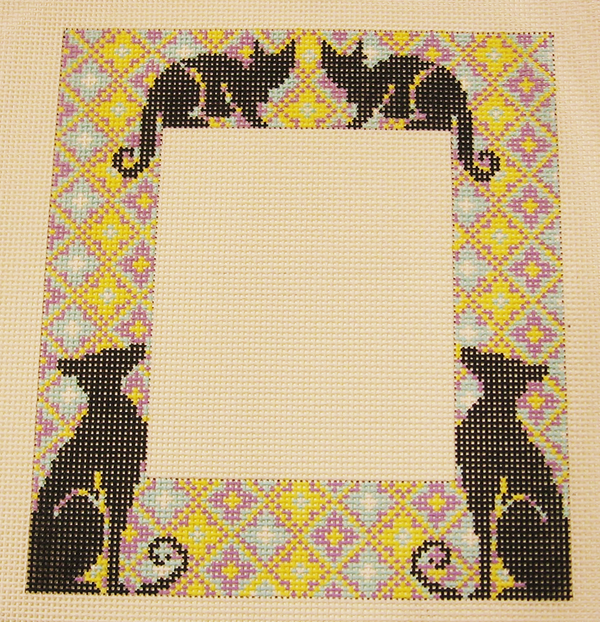 Needlepoint Cat Silhouette Picture Frame Canvas