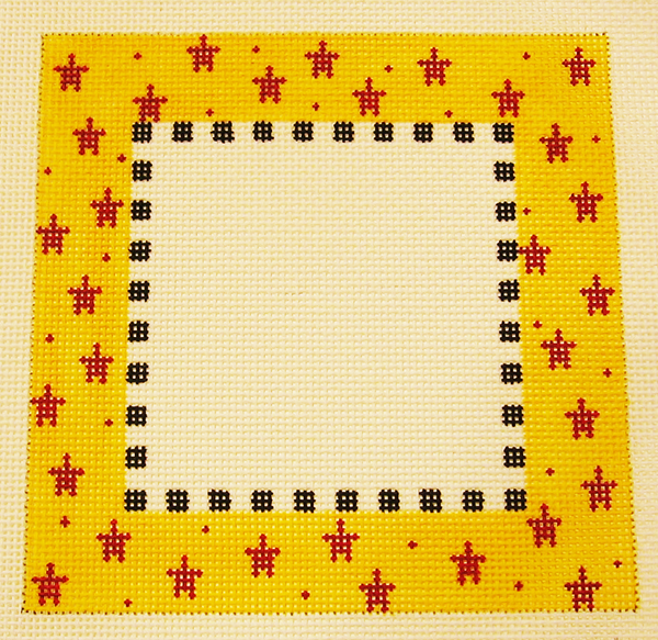 Needlepoint Red Stars Picture Frame Canvas