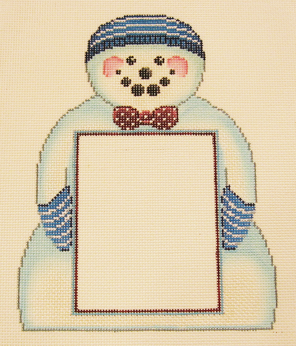 Needlepoint Snowman Picture Frame Canvas