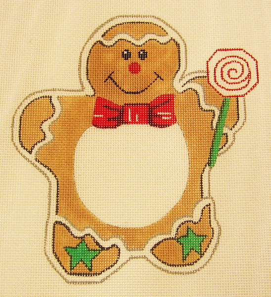 Needlepoint Gingerbread Man Picture Frame Canvas