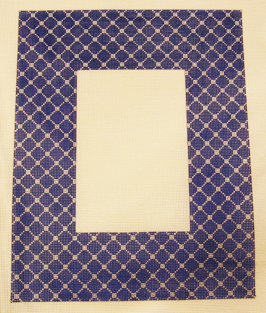 Needlepoint Blue Trellis Picture Frame Canvas