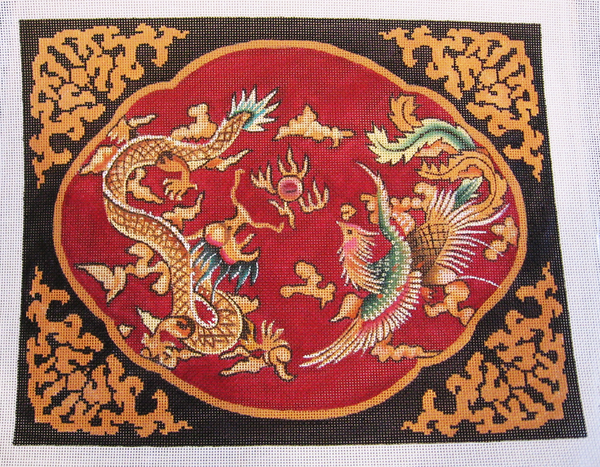 Needlepoint Dragon and Phoenix Canvas