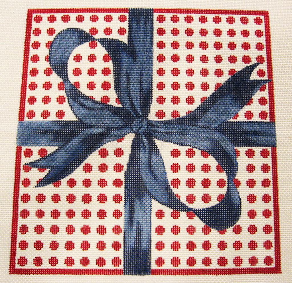 Needlepoint Blue Bow Canvas