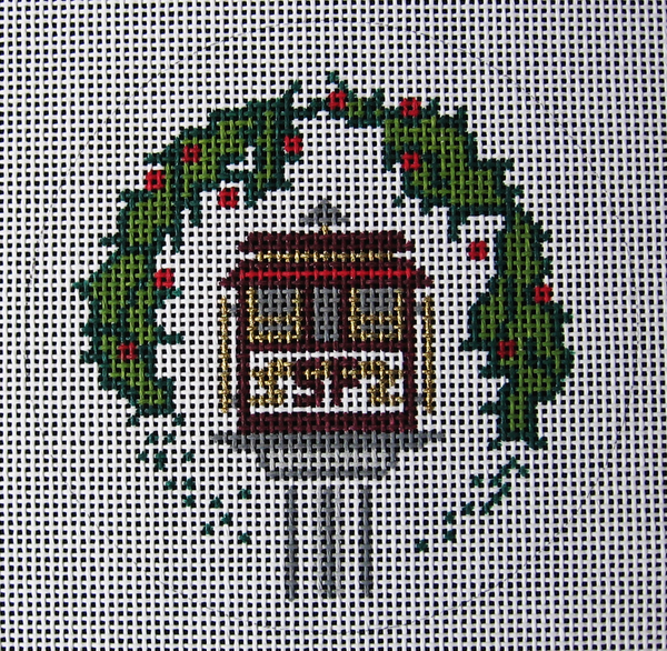 Needlepoint Cable Car Ornament Canvas