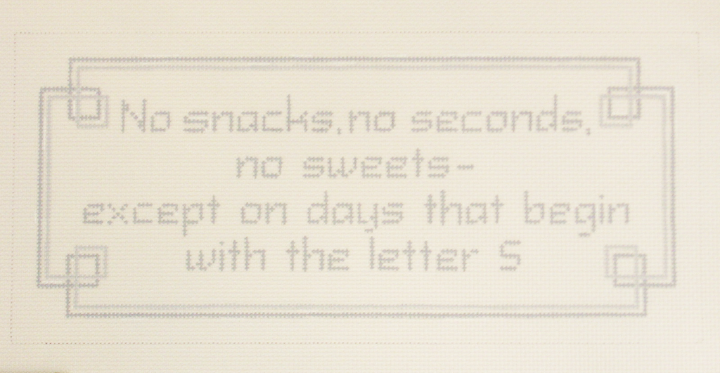 Needlepoint No Snacks Canvas