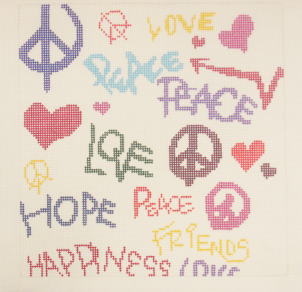 Needlepoint Love and Peace Canvas
