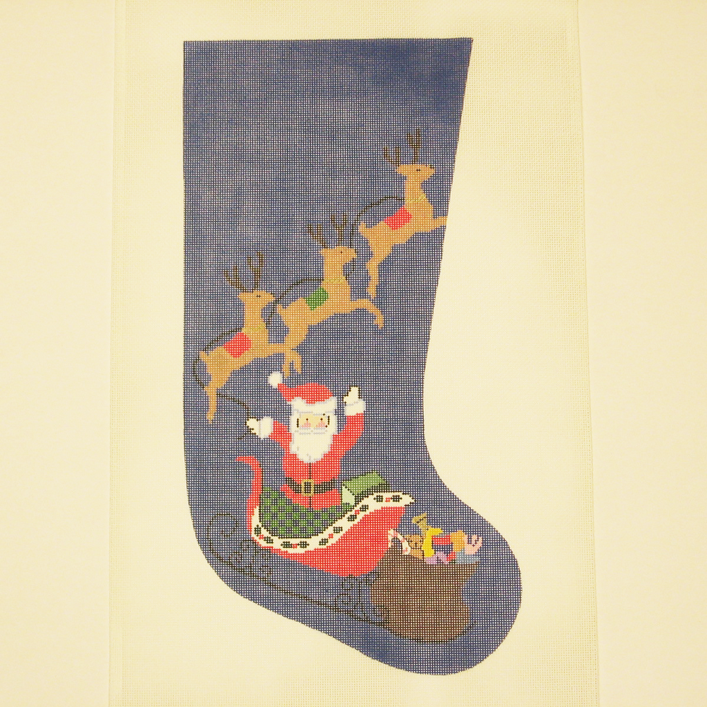 Needlepoint Santa and Reindeer canvas