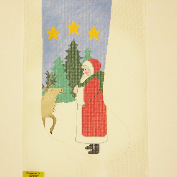 Needlepoint Santa and Moose canvas