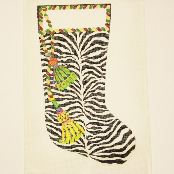 Needlepoint Zebra Print w/ Tassels canvas