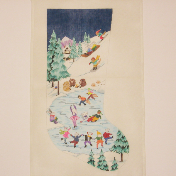 Needlepoint Skating Pond canvas