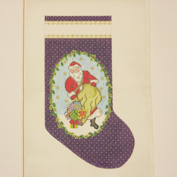 Needlepoint Purple Santa canvas