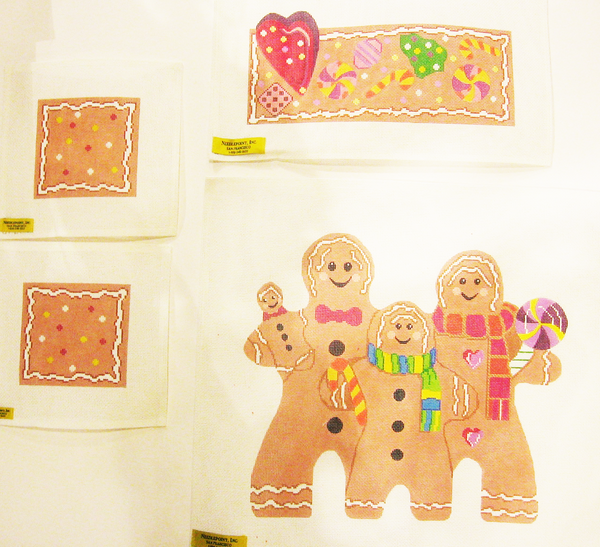Needlepoint Gingerbread Family Canvas
