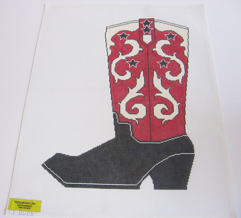 Needlepoint Red Cowboy Boot Canvas