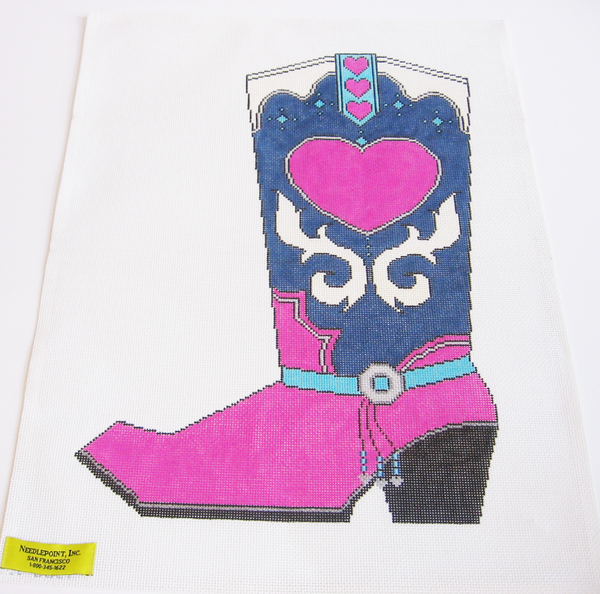 Needlepoint Pink Heart Cowboy Boot Canvas