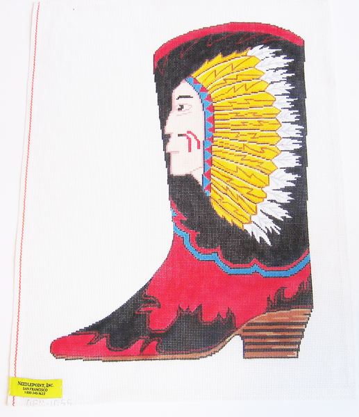 Needlepoint Native American Cowboy Boot Canvas
