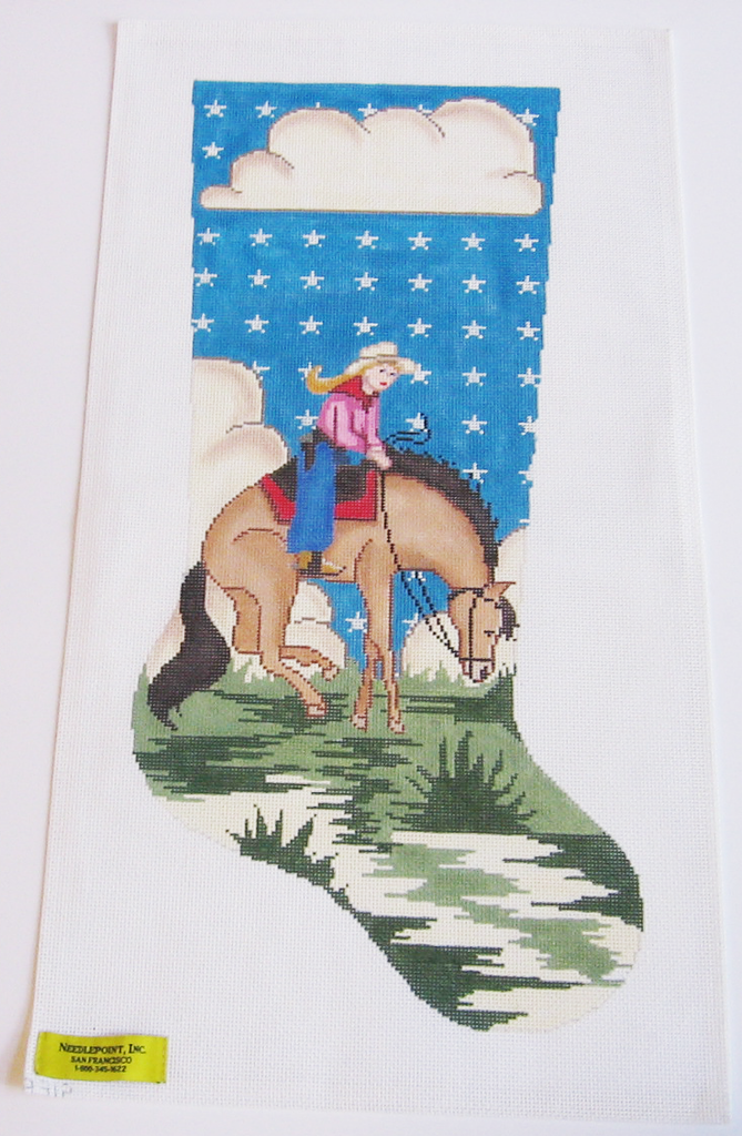 Needlepoint Cowgirl Stocking Canvas