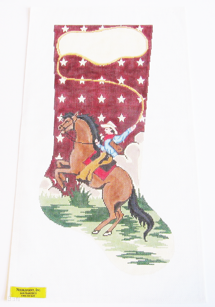 needlepoint cowboy stocking canvas