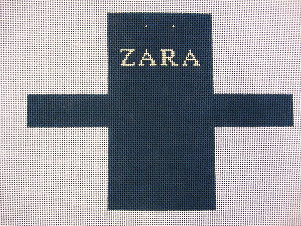 Needlepoint Zara Shopping Bag Ornament Canvas