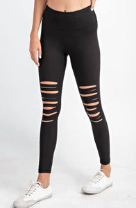 Matte Black Laser Cut Leggings