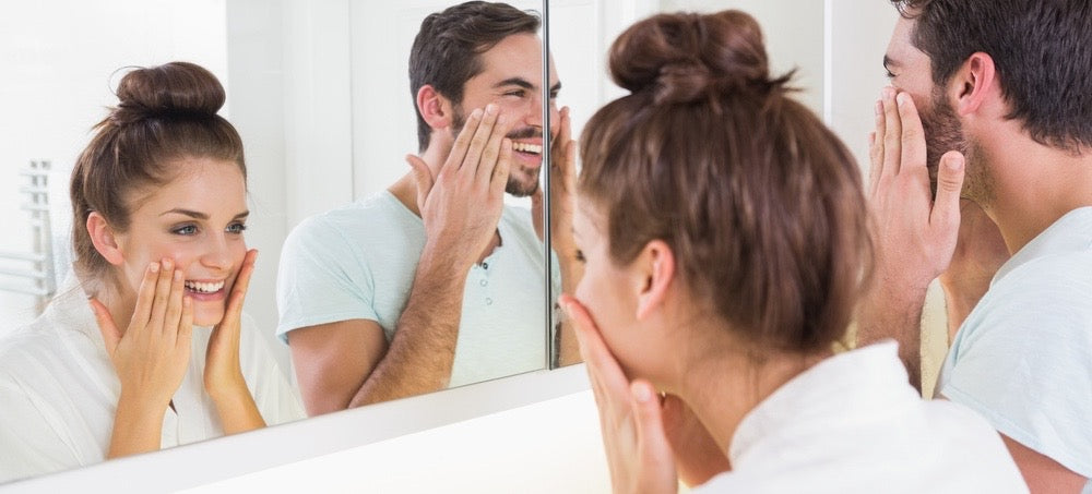 man and women skin care routine