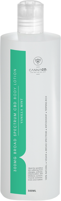 Cannaco Vanilla Mint CBD Body Lotion 500 ml South Africa