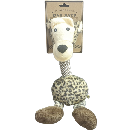 Super soft plush dog toy with rope neck and squeaker!