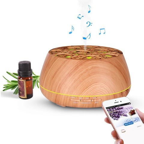 ultrasonic cool mist aroma diffuser (400ml) with Smart APP, Bluetooth speaker for music, and LED lights