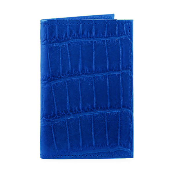 responsible luxury cobalt blue alligator wallet
