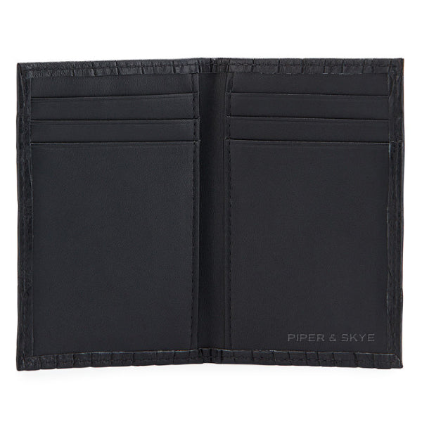 piper & skye alligator skin bi-fold wallet