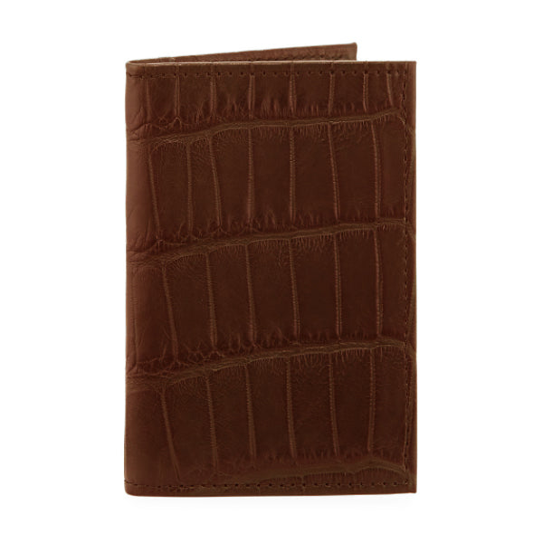 responsible luxury bi-fold wallet in alligator skin