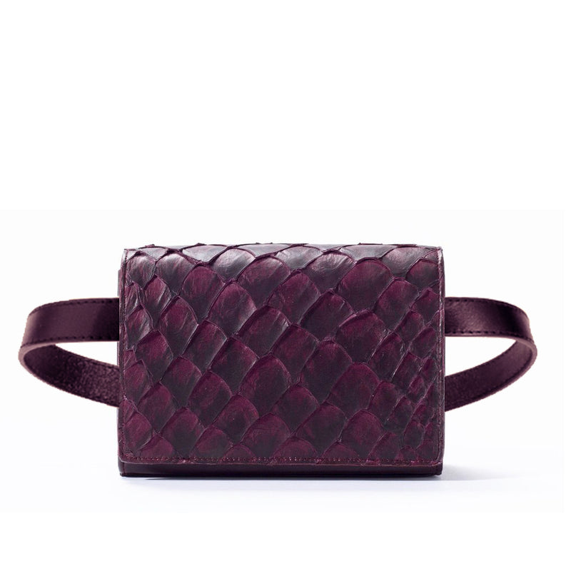 responsible luxury beltbag in bordeaux pirarucu